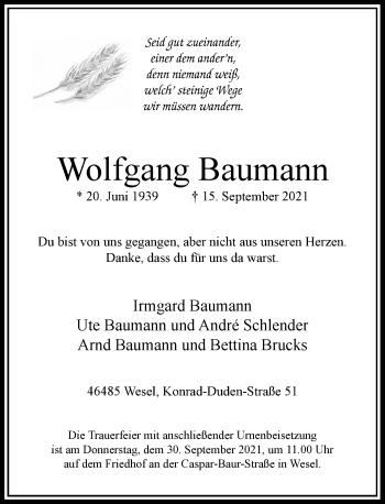 Traueranzeige von Wolfgang Baumann von Rheinische Post