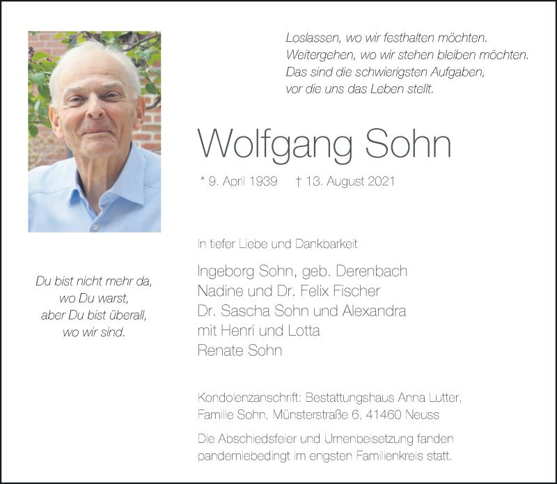 Traueranzeige für Wolfgang Sohn vom 04.09.2021 aus Rheinische Post