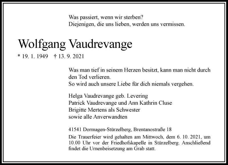 Traueranzeige für Wolfgang Vaudrevange vom 30.09.2021 aus Rheinische Post