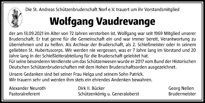 Traueranzeige für Wolfgang Vaudrevange vom 18.09.2021 aus Rheinische Post